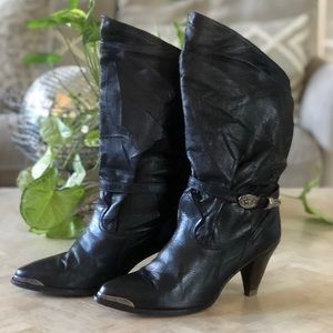 Vintage Zodiac Black Leather Boots size 8.5